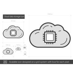 Cloud data storage line icon vector
