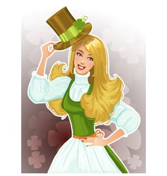 Cute blond girl Leprechaun with hat vector image