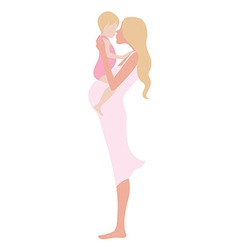 Young beautiful pregnant woman with the child vector image vector image