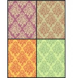 floral wallpaper set vector image vector image