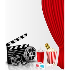 Red curtain and film object with popcorn vector