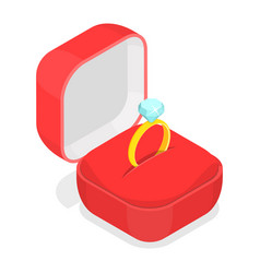 wedding ring in the box isometric vector image vector image
