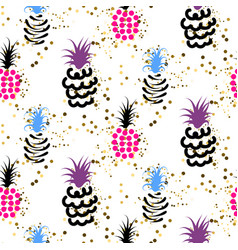 abstract pineapple with gold glitter bright colors vector image vector image