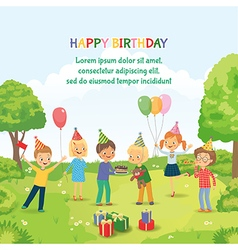 Cute boy celebrating birthday with her friends in vector image