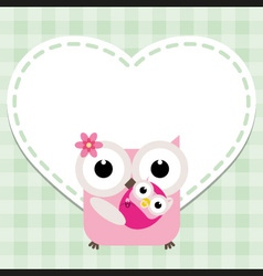 Happy mothers day with cute owls vector image vector image