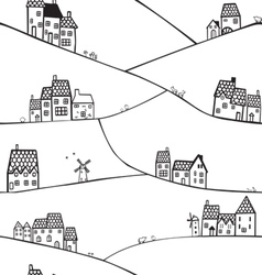 hills and houses vector image vector image