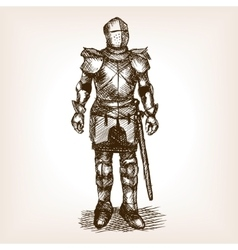 Knight Armour and sword sketch vector image