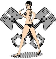 Piston girl vector image vector image