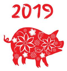 2019 floral pig vector image