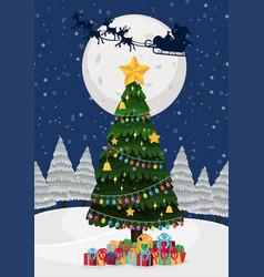 a christmas tree at night vector image