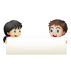 A girl and a boy holding an empty banner vector