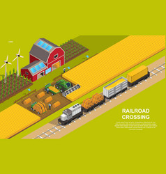 a train loaded with grain and bales hay vector image