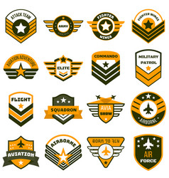 Airforce logo set flat style vector