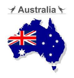 australia map with flag isolated against white vector image