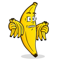 banana cartoon character holding bunches vector image