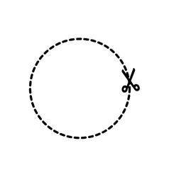 Banner circle sticker scissors icon vector