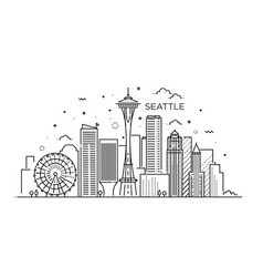 banner seattle city in flat line trendy style vector image