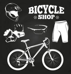 bicycle shop on blackboard - helmet bicycle vector image