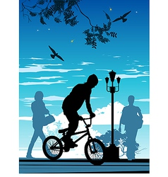 Bike riding silhouette vector image