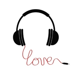 Black headphones Red cord in shape of word love vector