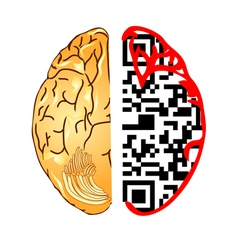 brain and qr code vector image
