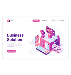 Business solution isometric landing page vector