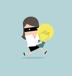Businesswoman thief stealing idea bulb vector