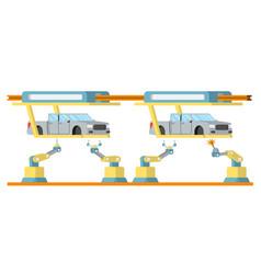 Car assembly conveyor line robotic car machinery vector