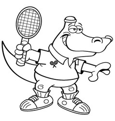Cartoon alligator playing tennis vector