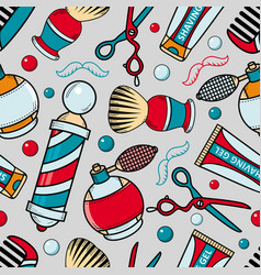 Cartoon seamless pattern with barber tools vector
