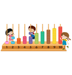 Children playing with abacus vector