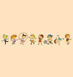 Children sports isolated boy and girl kid vector