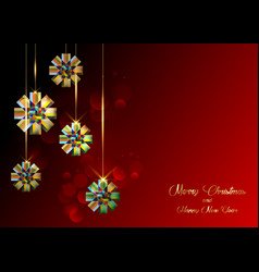 christmas colorful ribbon bows on red background vector image