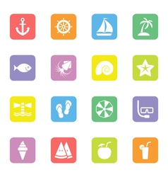 colorful flat icon set 9 rounded rectangle vector image
