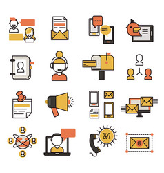 Communication network contact and media business vector
