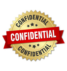confidential 3d gold badge with red ribbon vector image