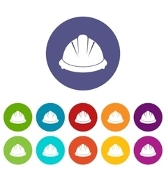 Construction helmet set icons vector image