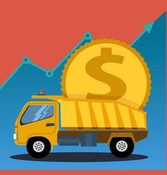Construction truck carrying a large coin business vector