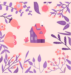 cozy old house among huge spring wildflowers vector image