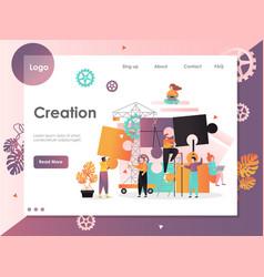 Creation website landing page design vector