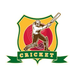 Cricket sporting shield vector