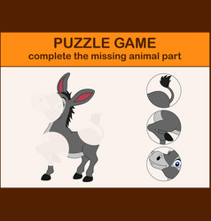 cute donkey cartoon complete the puzzle vector image