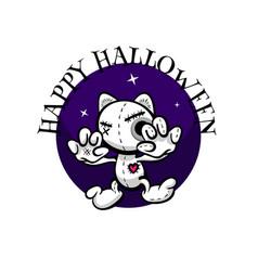 cute evil rabbit halloween woodoo sewing toy vector image