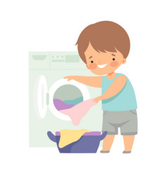 Cute little boy washing clothes with washing vector