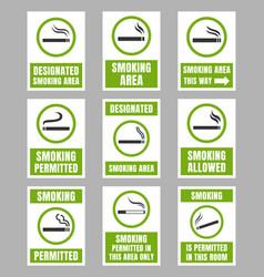 designated smoking area sign set smoking place vector image