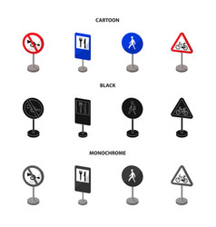 Different types of road signs cartoonblack vector