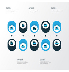 document icons colored set with locked file file vector image