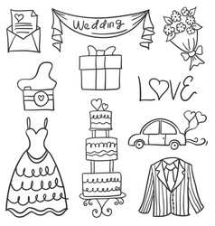 doodle of object wedding style hand draw vector image