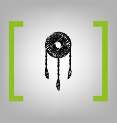 Dream catcher sign black scribble icon in vector