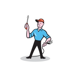 Electrician Holding Screwdriver Plug Cartoon vector